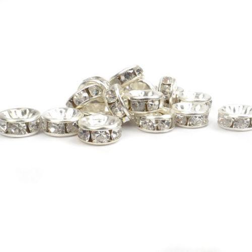 500x Versilbert Perlen Strass Rondelle Glasperlen Kristall Beads DIY