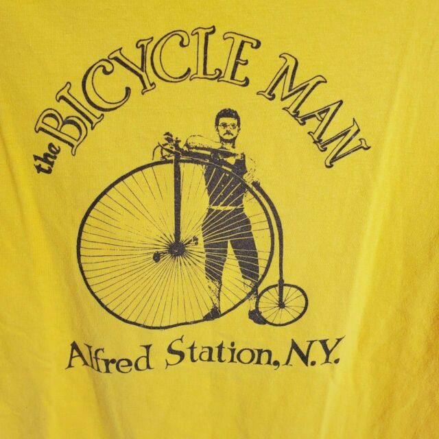 Vintage 1980s Bicycle Man Hanes Beefy T Shirt L Cotton Single Stitch Made in USA