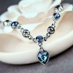 Women-Ocean-Heart-Austrian-Crystal-Chain-Jewelry-Bracelet-Bangle-Adjustable-AU