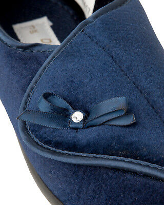 Para Mujeres Dr Keller Azul Marino Ortopédico ajustable ajuste más amplio Zapatillas Tamaño De Damas 3-8