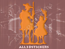 Pegatina Don Quijote y Sancho Panza 3D Relieve - Color Naranja
