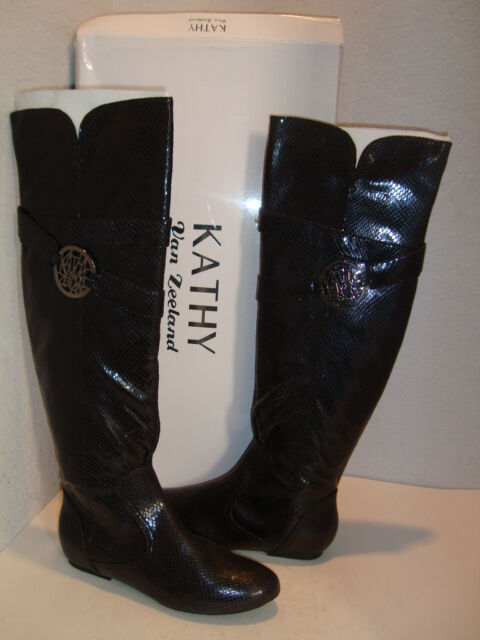 Kathy Van Zeeland New Womens Babe Black Synthetic Patent Boots Shoes 10 Medium