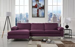Brilliant Details About Modern Large Fabric Sectional Sofa L Shape Couch With Extra Wide Chaise Purple Ibusinesslaw Wood Chair Design Ideas Ibusinesslaworg