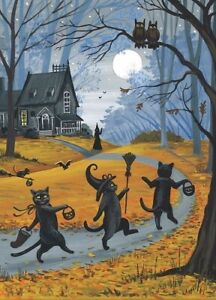 5x7-PRINT-OF-PAINTING-BLACK-CAT-WITCH-HALLOWEEN-AUTUMN-FOLK-ART-HAUNTED-HOUSE