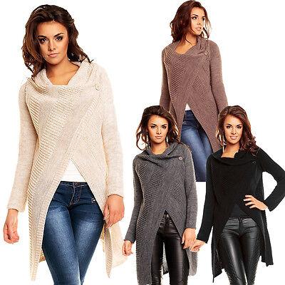 Damen Strickjacke Cardigan Poncho 1 Knopf Verschluss 36 38 Mantel Jacke Pullover | eBay