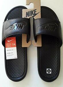 Details about Nike Mens Benassi JDI Just Do It Black leather Slides Size 14  343880-001 sandals