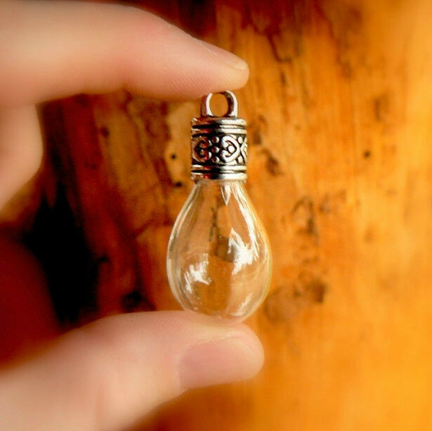 2 Glass WATER DROPS w/ornate caps tear/vials/pendants/miniature/bottles/wishing