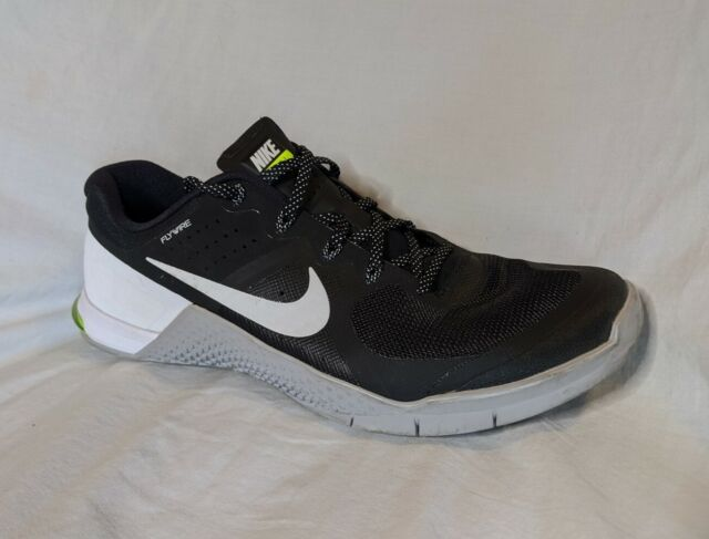 Nike Black/White Athletic Training Shoes Metcon 2 Flywire 819899-001 Size 10