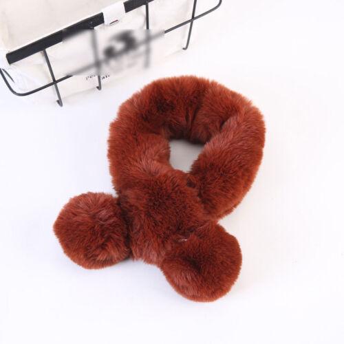 Winter Baby Girls Scarf Neckerchief Fur Fleece Soft Cozy Shawl Warm Thicken Kids
