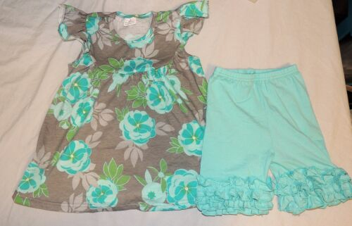 NEW Toddler Girl Outfit Floral Blue Flowers Shirt Ruffle Shorts Icing Size 2T