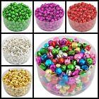 100 Pcs Christmas Colorful Iron Loose Beads Charms Jingle Bells Pendants 8x6 mm
