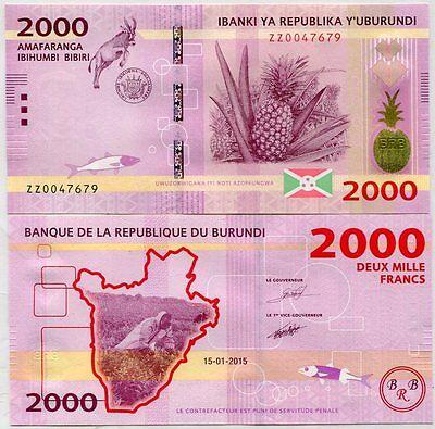 BURUNDI 2000 2,000 FRANCS 2015 P NEW ZZ REPLACEMENT UNC