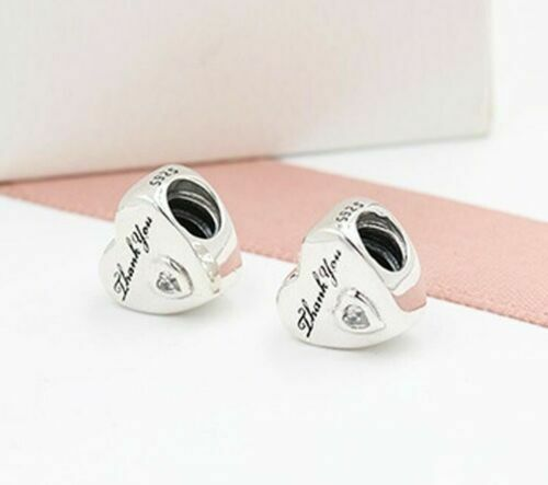 gold gift box 925 Silver Sterling Thank you love heart European Charm