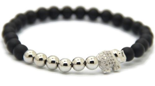 "Homme Éléphant Zircon Micro Pave 6 mm Gemstone Round Gold CZ Perles Bracelet 7.5/"""