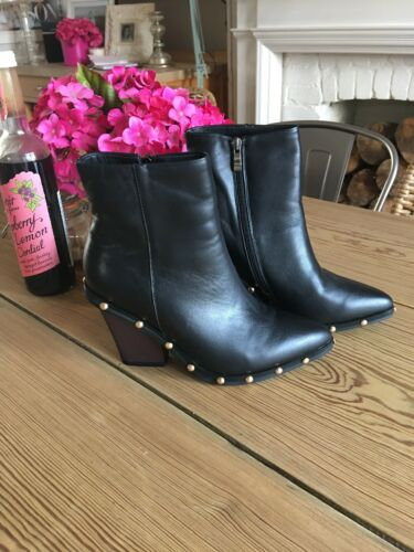 Ankle Stud Boots Black 5 Size Leather 7zYxqwP