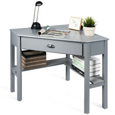 Corner Computer Desk Laptop Study Table Workstation W// Drawer /& Shelves Gray