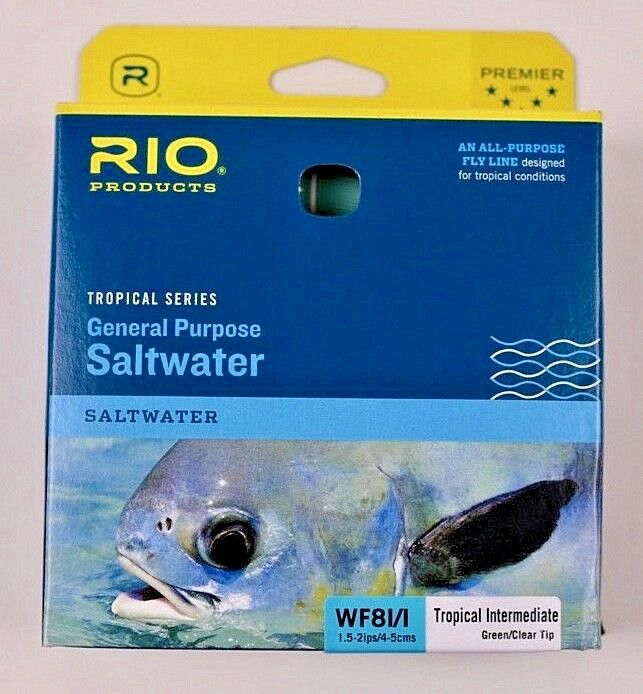 Rio General Purpose Saltwater WF8I I Fly Line vert Clear Tip Libre Ship 6-20341