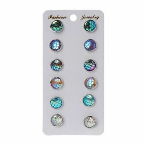 498597a8d 6 Pairs Beauty Scale Round Crystals Assorted Stud Earrings Set Women ...