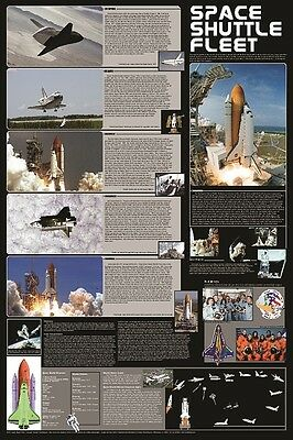 SPACE SHUTTLE FLEET POSTER EDUCATIONAL CHART NEW WALL ART 61X91CM