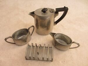 Vintage-English-Pewter-Four-Piece-Coffee-Set-Hand-hammered-Art-Deco-Design