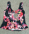 Ladies Size 16 Black Floral Swing Top Womans Strap Sleeve Stretch Flower Shirt