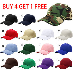 Classic Plain Baseball Cap Hat Adjustable Size Solid Color