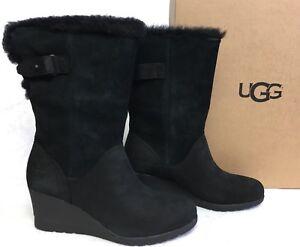 23f2ec8b3051 Image is loading UGG-Australia-Edelina-Boots-Black-Waterproof-Wedge-Boots-