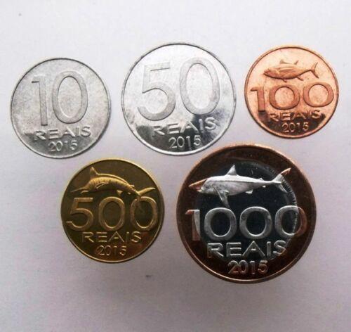 BIMETALLIC UNC ANGOLA 5 COINS SET 2015 10-1000 REAIS FISH CABINDA