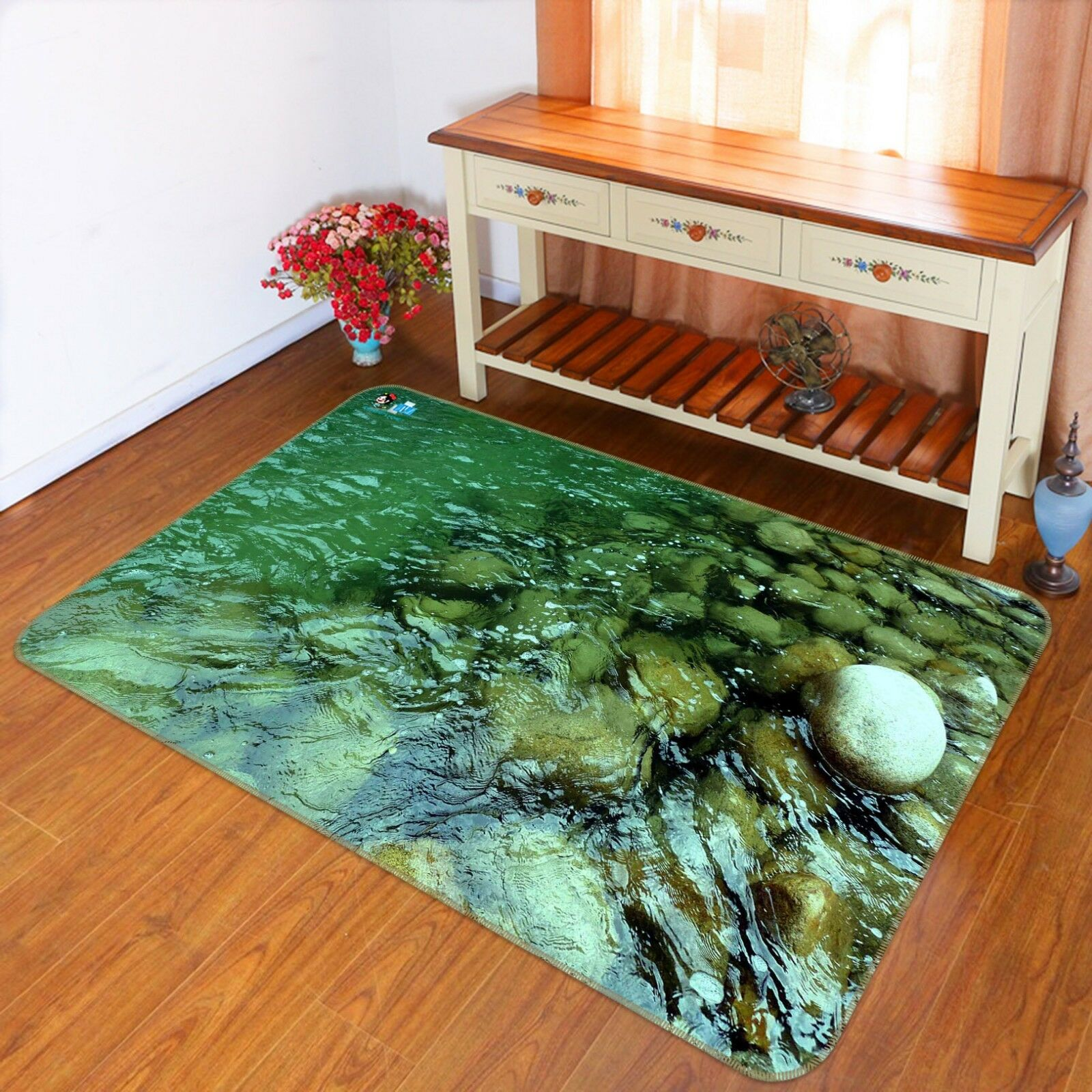 3D River Stone 028 Non Slip Rug Mat Quality Elegant Photo Carpet US Cobb