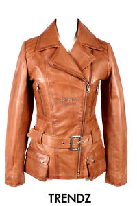 Ladies Tan Orchid Soft Leather Military 2812 Real Lambskin New Jacket Style 11rWPqg5F