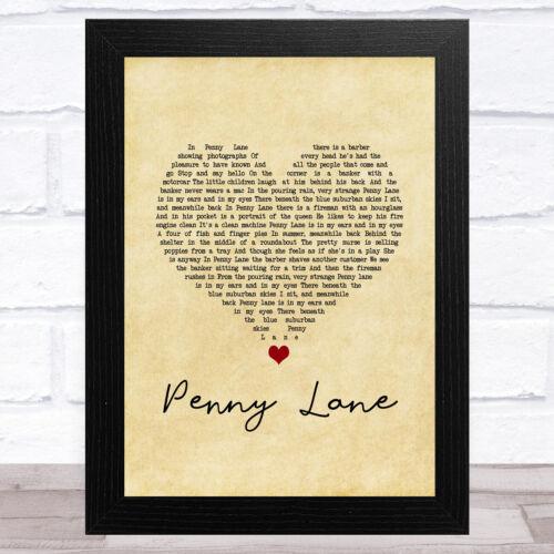 Penny Lane vintage cœur chanson Lyrique Musique Art Imprimé