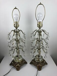 Details About Vintage Pair Of Ef Ef Industries Lamps Brass Crystal Chandelier Table Lamps