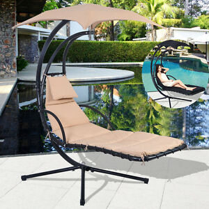 Garden swing hammock helicopter hanging chair seat sun lounger outdoor w cushion ebay - Choosing a hammock chair for your backyard ...