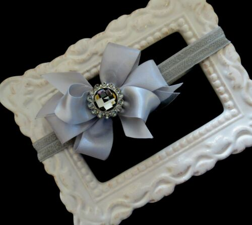 SILVER Grey satin hair bow headband small medium Christmas baby rhinestone