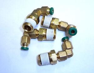 "Parker 169PL-5//32-4 1//4/"" NPT Male Nipple 5//32/"" Tubing Elbow Brass Fitting"