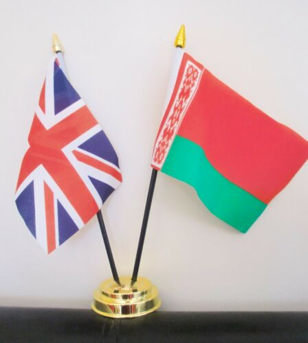 UNION JACK AND BELARUS TABLE FLAG SET 2 flags plus GOLDEN BASE