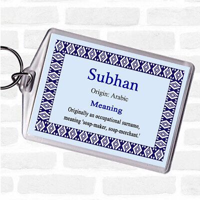 Subhan Name Meaning Bag Tag Keychain Keyring Blue   eBay