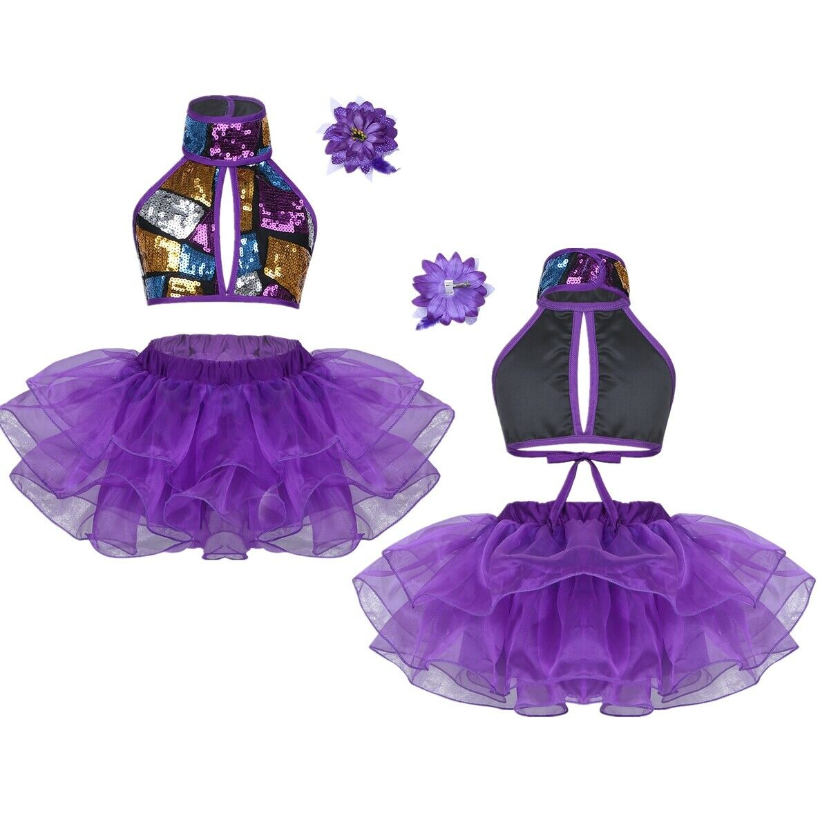 UK Girls Sequin Ballet Kid Jazz Performance Sets Crop Tops+Tutu Skirts Dancewear