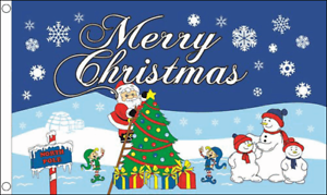 Merry Christmas North Pole Flag Banner Decoration Santa Happy Xmas Festive