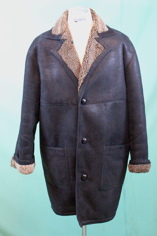 Schöner Lamm-Fell Mantel Leder ca 54/L Luxus shearling schwarz-grau echt Pelz