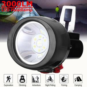 NEW-3W-3000LM-Miners-Cordless-Power-LED-Helmet-Light-Safety-Head-Cap-Lamp-AU