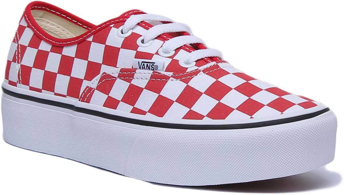 Vans Authentic Womens Canvas Platform Trainers In White Red UK Size 3 - 8