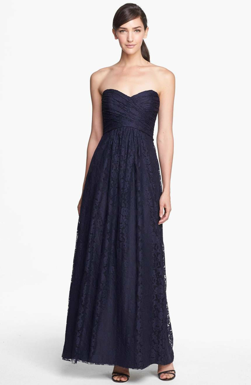 NEW Amsale Strapless Pleated Lace Sweetheart Gown (Größe 8) Navy