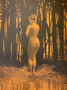 Henri patrice dillon engraving lithograph study naked woman nude female baigneuse