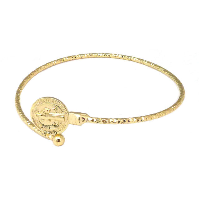 14k Gold Plated Saint Benedict San Benito Simple Cuff Bracelet