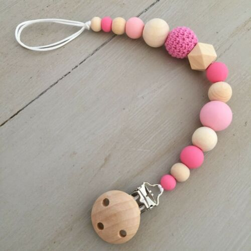 Dummy Clip//Holder Sensory Teething Natural Wood /& BPA Free Silicone Pacifier
