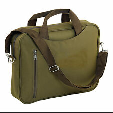 "KHAKI 15"" WIDESCREEN LAPTOP BAG NOTEBOOK CARRY CASE SHOULDER STRAP MESSENGER UK"