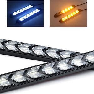 2x-18cm-LED-Auto-Blinker-Scheinwerfer-Sequentiell-LAUFEFFEKT-Lampe-Weiss-Gelb-12V