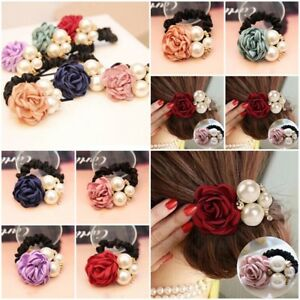 Girl's Accessories 1 Pcs Women Lady Satin Ribbon Rose Flower Hair Bands Elastic Ponytail Holde Hair Accessories Free Shipping Fast Color Girl's Hair Accessories