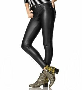 73313aab80f8de Image is loading HUE-U16798-Black-Stretch-Leatherette-Leggings-w-Belt-